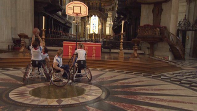 Members of Great Britain's women's wheelchair basketball team at St Paul's Cathedral