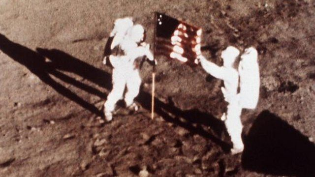 Neil Armstrong and Edwin Aldrin on moon