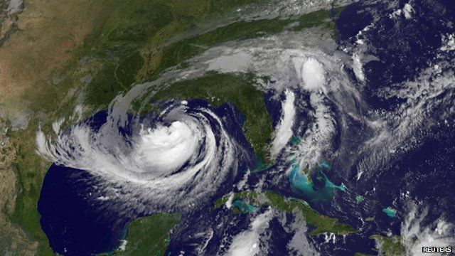 NOAA satellite image of Tropical Storm Isaac in the Gulf of Mexico