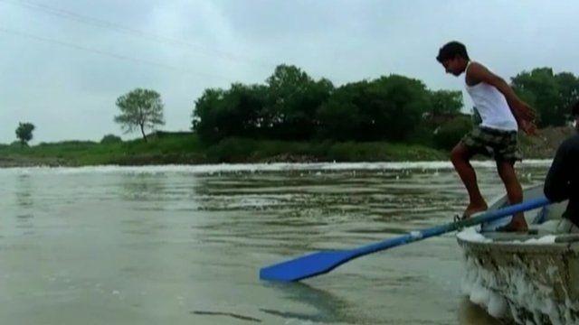 Sagar Nath Kashyap jumping into the water