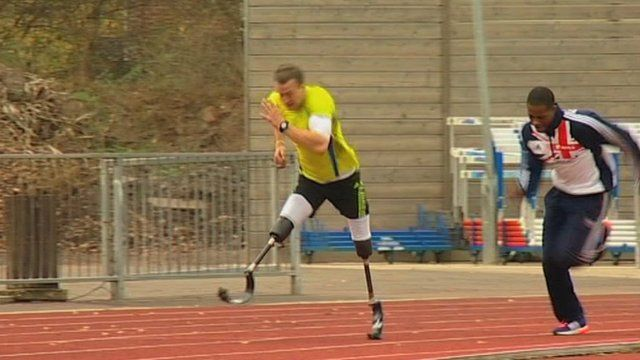 Richard Whitehead trains at the University of Loughbourgh with other elite athletes