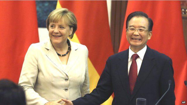 German Chancellor Angela Merkal and Chinese Premier Wen Jiabao