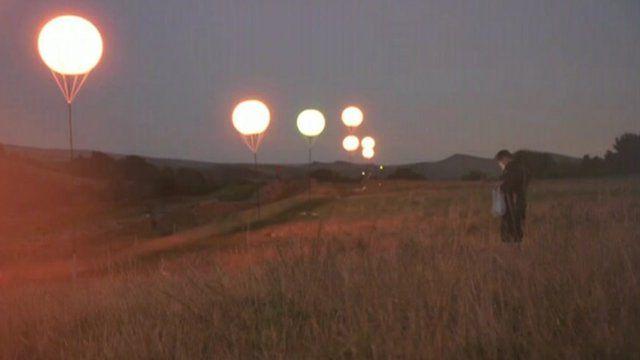 Balloons light up along Hadrian's Wall