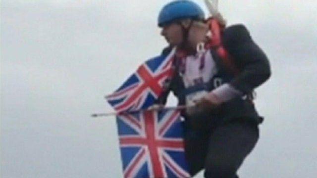 Boris Johnson on zipwire