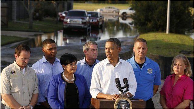 President Barack Obama speaks in St John the Baptist Parish, Louisiana
