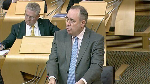 Alex Salmond speaking in Holyrood parliament