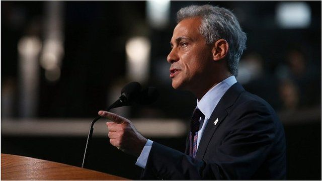 Rahm Emanuel at the Democratic convention, 4 Sep