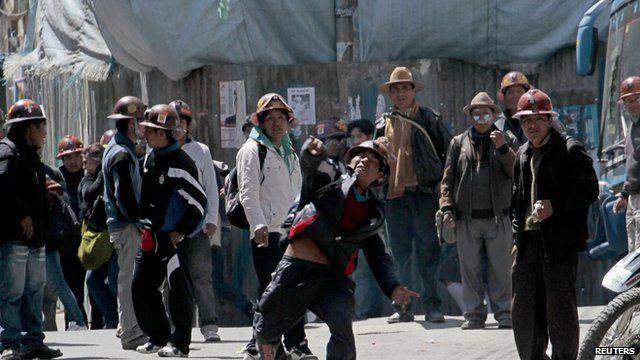 Bolivian miner protesting