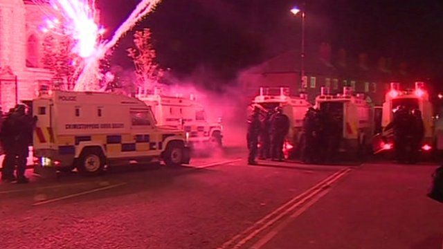 Fireworks thrown at police
