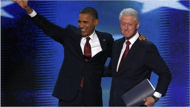 President Barack Obama (l) with Bill Clinton on stage at the Democratic convention, 5 Sep