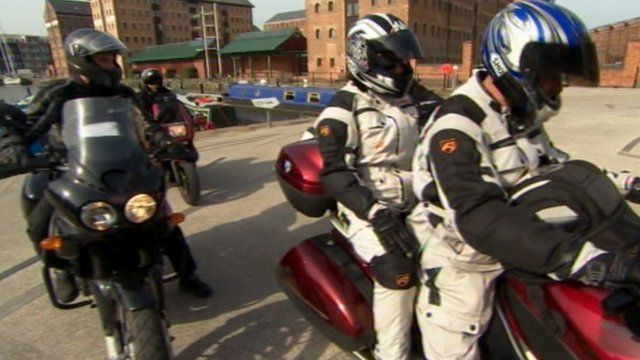 Motorcycle riders at Gloucester Docks