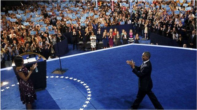 US President Barack Obama walks on stage at the Democratic convention