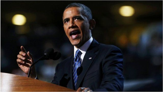 US President Barack Obama accepts the Democratic presidential nomination 6 September 2012