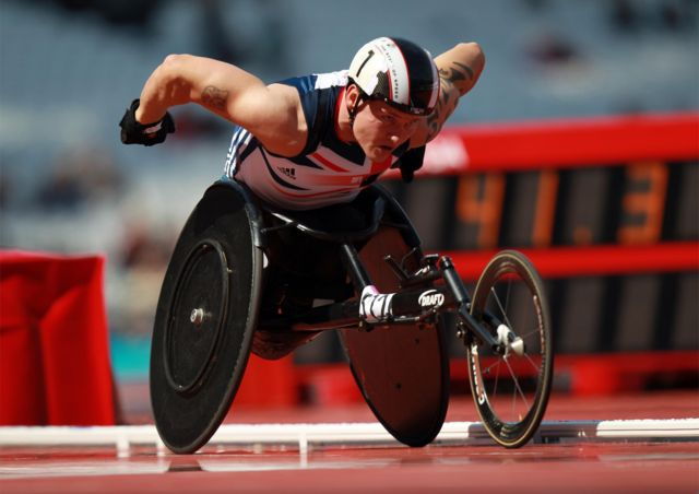 David Weir in wheel chair at London 2012 Paralympics