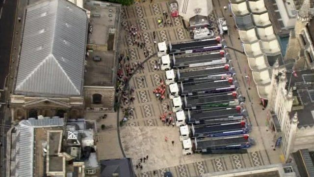 Aerial view of floats