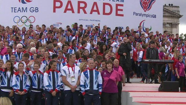 Team GB and ParalympicsGB celebrate on stage