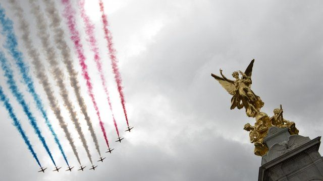 The British Royal Air Force Red Arrows display team fly past the Queen Victoria Memorial in front of Buckingham Palace after a parade