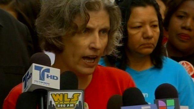 Erica Clark speaks at strike rally 10 September 2012