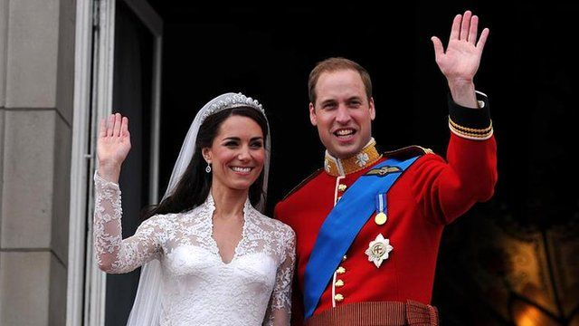 Duke and Duchess of Cambridge on their wedding day