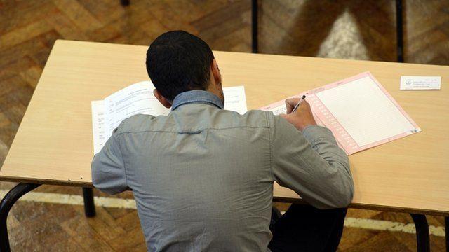 A pupil sitting an exam