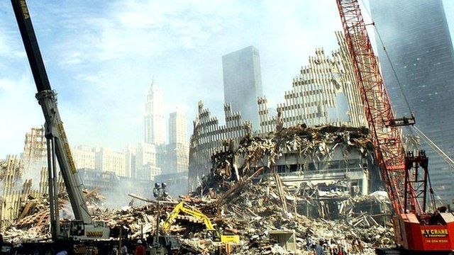 Rubble of Twin Towers in New York