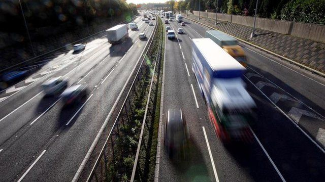 Vehicles on a motorway