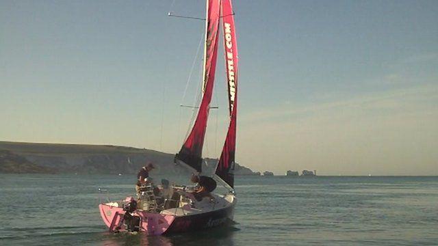 Natasha Lambert's boat with the Needles in the background