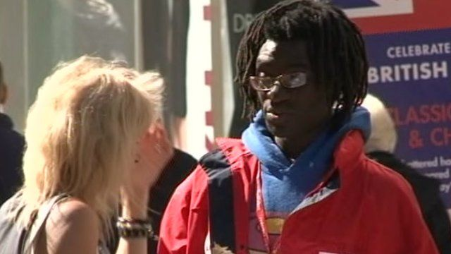 Street charity collector in Northampton