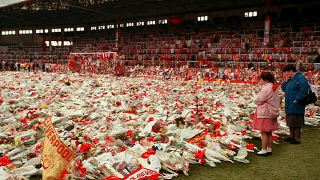 Flowers laid following the Hillsborough disaster