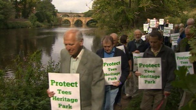 Locals are protesting the plans for a multi million pound sports park in Yarm
