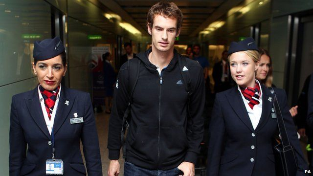 Andy Murray at Heathrow Airport