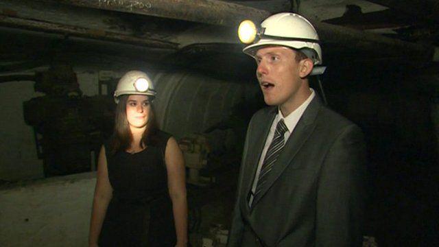 Musicians Laura and Daniel Curtis in the coal mine in Blaenafon