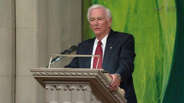 Gene Cernan speaks at a public memorial for Neil Armstrong 13 September 2012