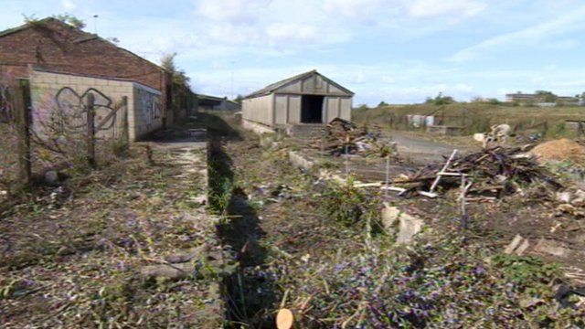 Derelict land, part of the railway triangle in Gloucester