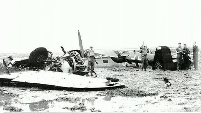 Wreckage of German bombers in Whitstable