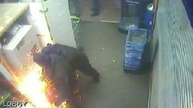 CCTV cameras recorded the raiders at work