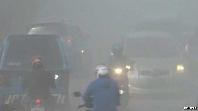 Ash from Mount Gamalama has affected visibility