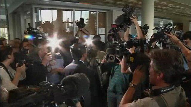 Media scrum greets royal lawyers