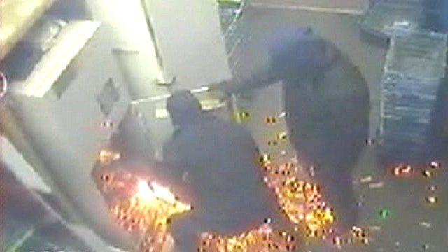 Cash machine raid CCTV
