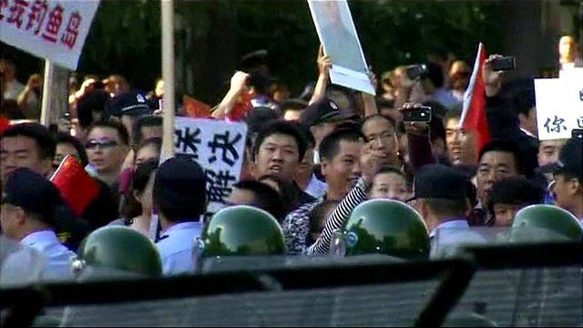 Protesters gathered outside the Japanese embassy in Beijing