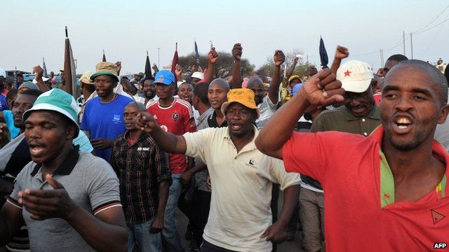 Striking miners at the Marikana platinum mine in South Africa
