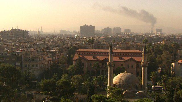 Smoke rises over Damascus (19 September 2012)