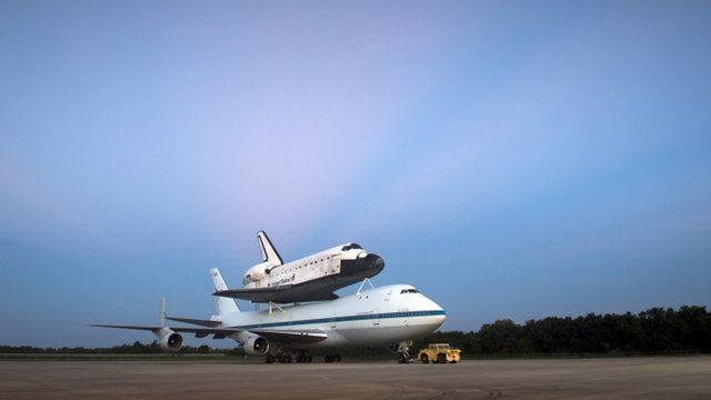US Space shuttle Endeavour is seen atop NASAs Shuttle Carrier Aircraft