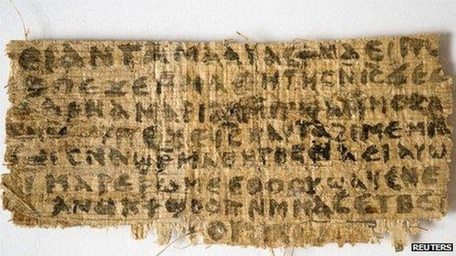 A previously unknown scrap of ancient papyrus written in ancient Egyptian Coptic 4th Century script