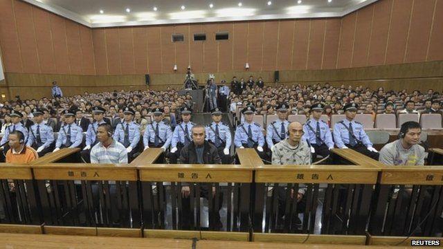 The defendants on trial in Kunming, 20 September