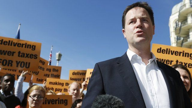 Nick Clegg with supporters in Brighton
