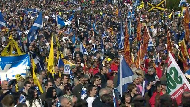 People gather for an Independence for Scotland march