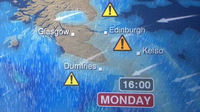 Scotland Weather Map.Severe Weather Warning For Borders Bbc News