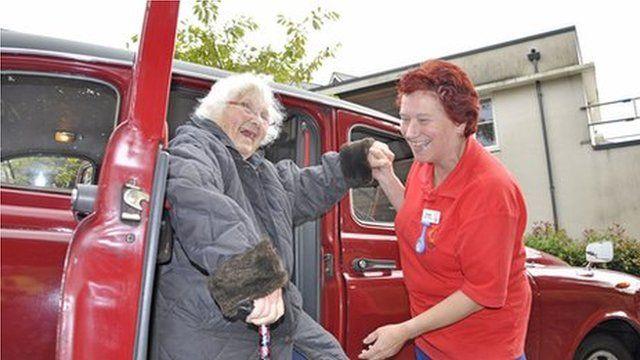 Dora Johncey (left), a resident at The Aldbury care home, with Lynda Pinckney, activities organiser