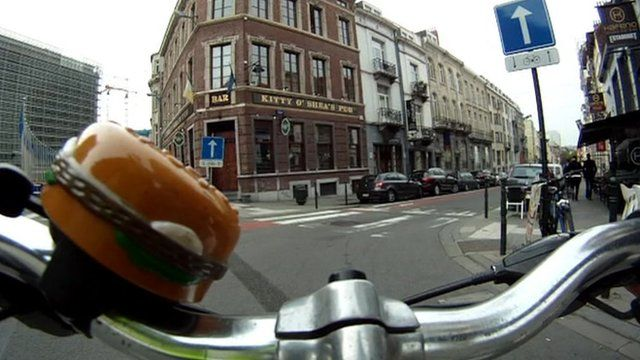A bike with plastic hamburger bell